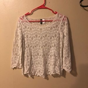 Divided H&M White Lace Top